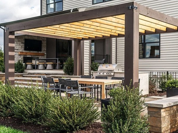 Pergola covering a patio with more in the background
